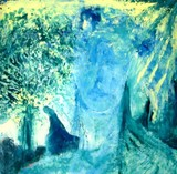 Blue Personage with tree
