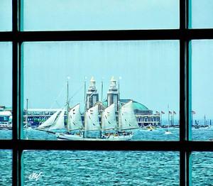 sailship through the window