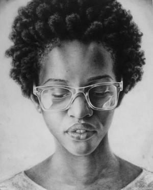 Black girl with glasses pencil portrait 2015