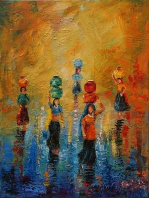 Original OIL Painting WOMEN CARRYING WATER