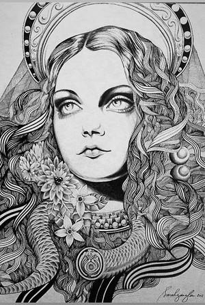 Sarah Gaugler Condemnant+Quod+Non+Intellegunt Artwork 3 Pen and ink on Canvas 2012+copy