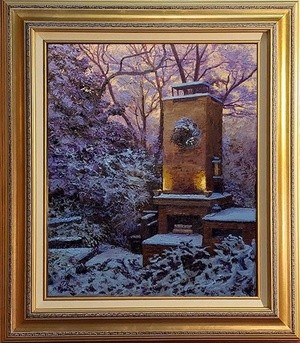 Winter morning outdoor fireplace scene.