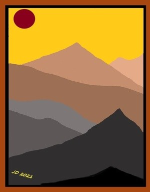 Brown Mountains 3D framed