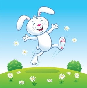 Cute Bunny Rabbit Leaping For Joy