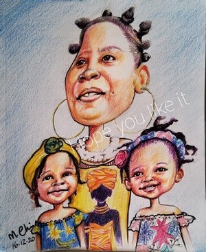 Family portrait, caricature style