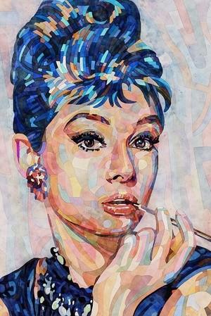 woman portrait audrey hapburn aquarelle