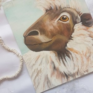 sheep in acrylics on medium canvas board 2019 (angle 2)