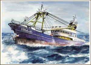 Fishing boat in stormy weather