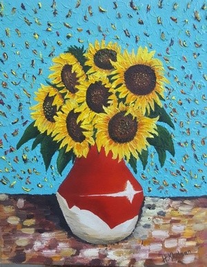 vase with seven sunflowers