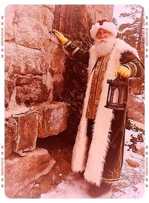red sled santa old image