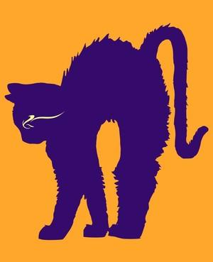 Halloween cat (orange & violet)