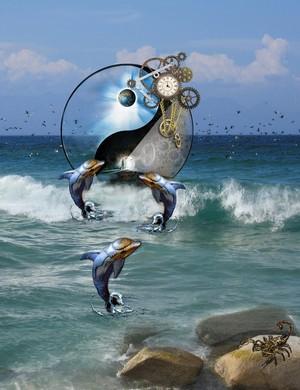 flying birds high surf dolphins steampunk