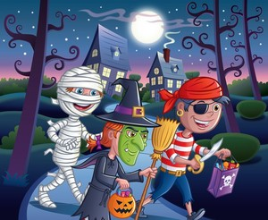 Trick or Treater Kids at Night