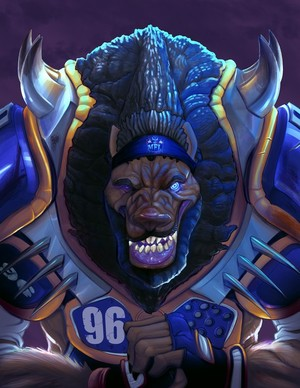 Mutant Football League Werewolf Illustration