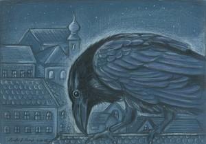 Crow on roof