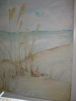Shells, dunes, and sea oats mural
