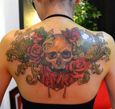 Skull and Roses Tattoo on Back