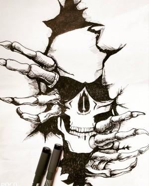 scribbleart skulltattoo stayhome