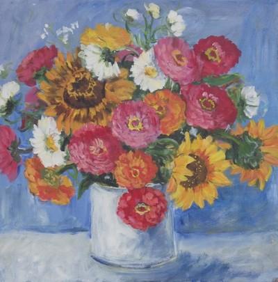Zinnias and Sunflowers