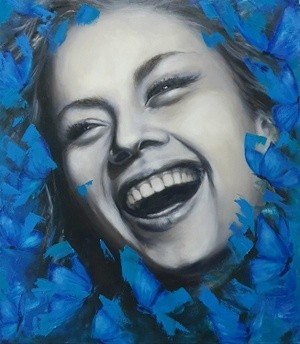 Laughter. Happy in blue