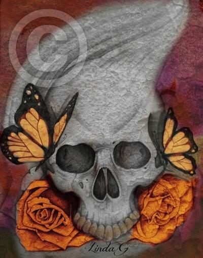 Butterflies by a Skull