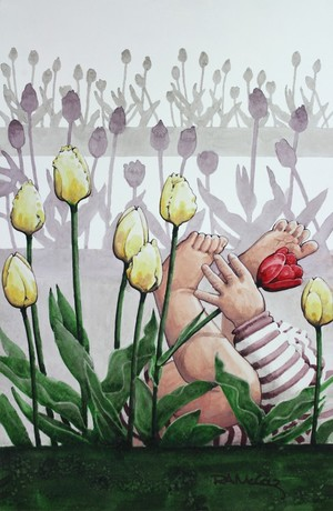 Baby in the Tulips