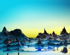 A cold bluish landscape