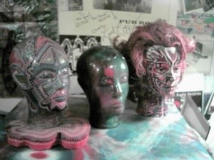 Painted Heads and typewriters