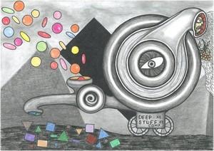 Geometricos, illustration amateur, outsider art, fantasy story