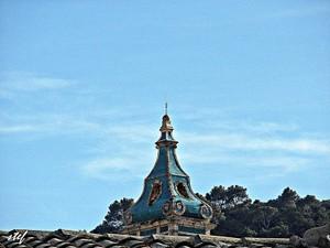 blue steeple against blue sky