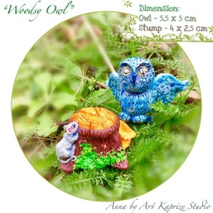 Woodland Owl figurine lucky talisman made high-quality natural material, hypoallergenic