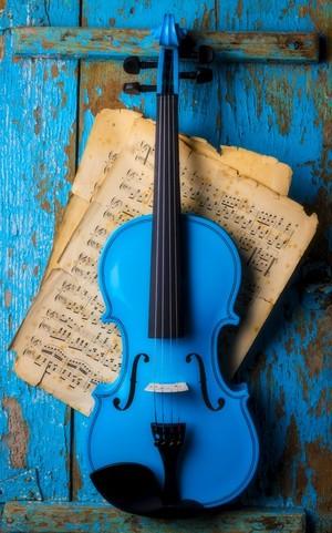 Blue Violin On Blue Wall