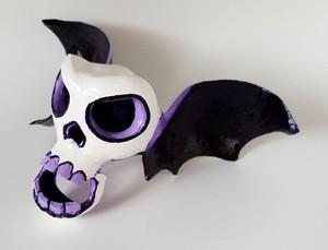 Winged Sugar Skull Gourd Sculpture