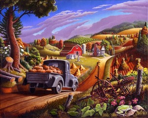 Pumpkins Farm Folk art fall Landscape Americana