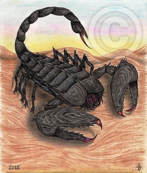 Fury Scorpion Original Art Drawing