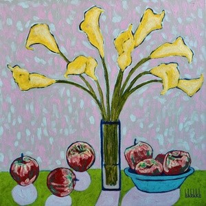 STILL LIFE WITH YELLOW CALLA LILIES AND APPLES