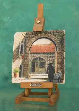 Oil painting on Jerusalem stone