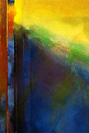 The Interaction of Blue and Yellow Abstract Painting