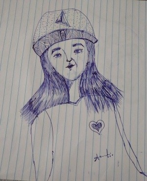 Pen drawing with girl..