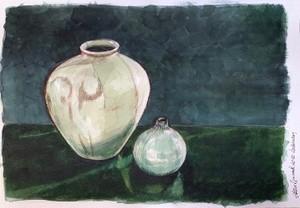 Two bulbous vases