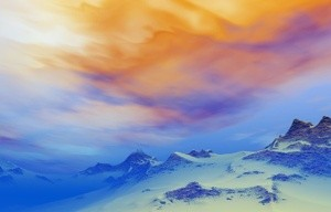 Sunset in the snowy mountains 3