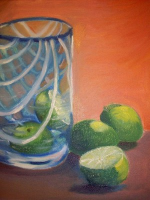 Limes waiting in a Blue Glass