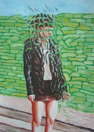 Ragazza su muro verde (girl on green wall)