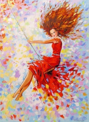 GIRL ON THE SWING PAINTING