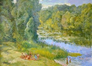 Riverside - beautiful summer landscape in calm green shades