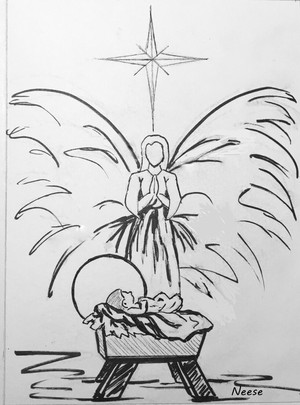 Christmas Angel drawing