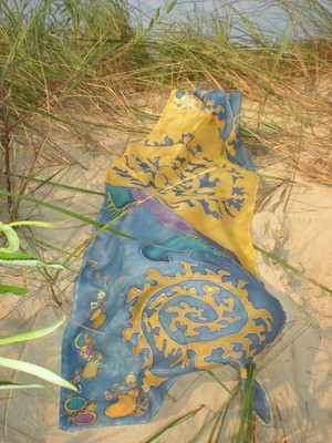 Silk scarf-Flowing.Art-wearable