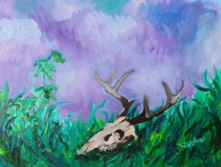 Deer Skull, Ivy In Grass