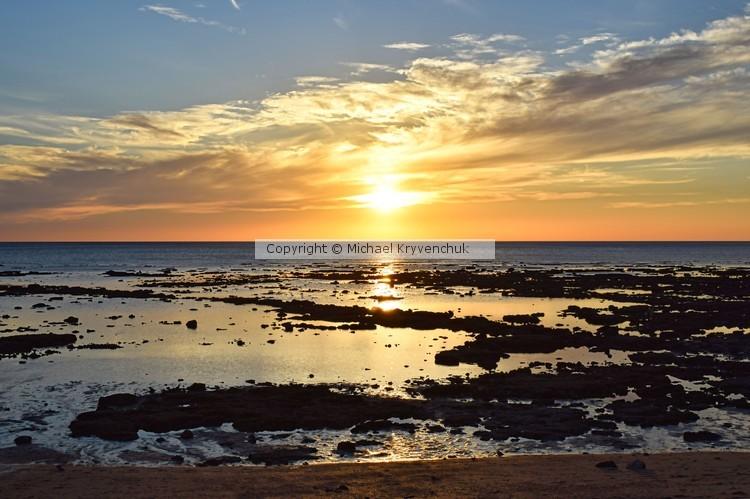Sunset on the Rocky Beach