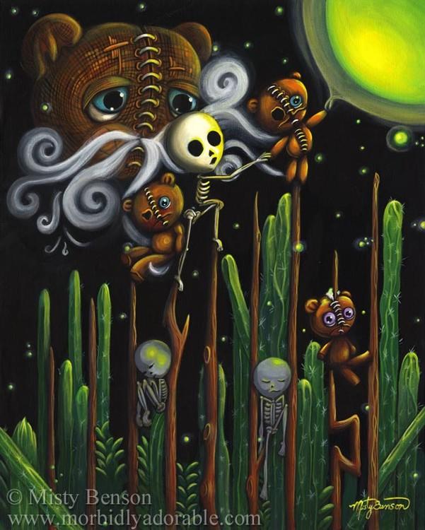 Nine of Wands: Morbidly Adorable Tarot Art